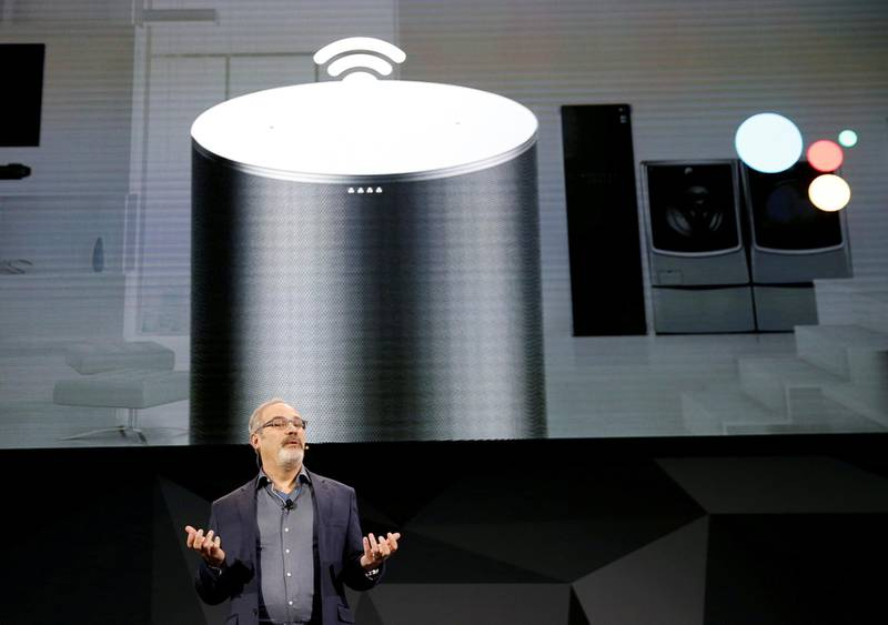 FILE PHOTO: Scott Huffman, Google Assistant vice president of engineering, speaks during an LG news conference at the 2018 CES in Las Vegas, Nevada, U.S. January 8, 2018. REUTERS/Steve Marcus/File Photo