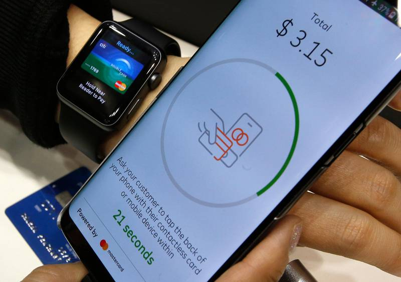 IMAGE DISTRIBUTED FOR MASTERCARD - The future of payments as Mastercard enables people to pay and get paid via mobile and wearables at the 2018 Mobile World Congress on Monday, Feb. 26, 2018 in Barcelona, Spain. (Manu Fernandez/AP Images for Mastercard)