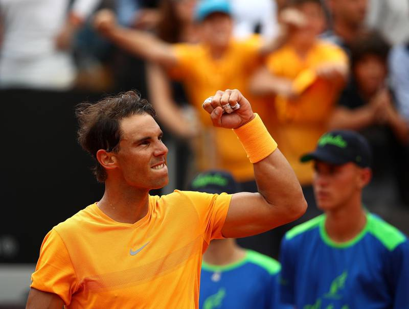 ROME, ITALY - MAY 16:  Rafael Nadal of Spain celebrates defeating Damir Dzumhur Bosnia during day four of the Internazionali BNL d'Italia 2018 tennis at Foro Italico on May 16, 2018 in Rome, Italy.  (Photo by Julian Finney/Getty Images)