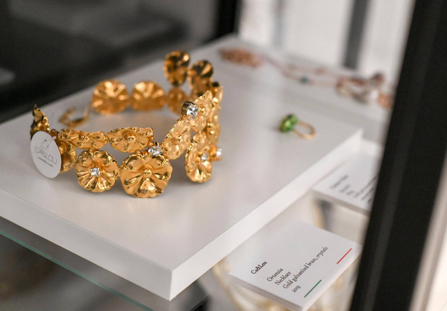 Ribbon Cutting Ceremony of DIVA-AD  ÔOrtensiaÕ necklace made of gold galvanized brass, crystals by Ca&Lou at the Italian Cultural Institute Abu Dhabi on June 22, 2021. Khushnum Bhandari/ The National