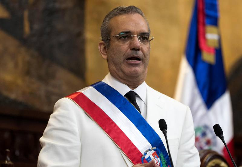 Dominican Republic new President Luis Abinader delivers a speech after being sworn-in, during the inauguration ceremony at the National Congress in Santo Domingo, on August 16, 2020. - Luis Abinader, of the Modern Revolutionary Party, is a politician, economist and businessman and will serve a four-year term as the sixty-seventh president of the Dominican Republic. (Photo by Orlando Barría / various sources / AFP)
