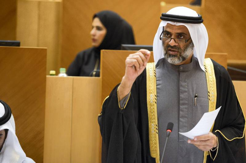 Abu Dhabi, United Arab Emirates -  Hamad Al Rahoomi, at the Federal Council meeting in the Federal National Council for VAT implementation on December 19, 2017. (Khushnum Bhandari/ The National)