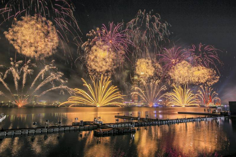 Abu Dhabi, United Arab Emirates, December 31, 2017.    Fireworks at the New Year's Eve Countdown Village at the Abu Dhabi, Corniche Breakwater.Victor Besa for The National.NationalReporter:  John Dennehy