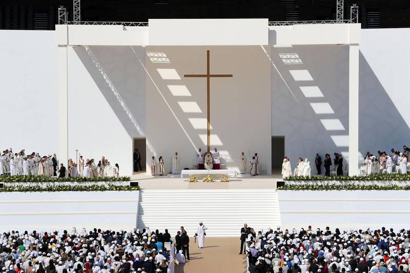 ABU DHABI , UNITED ARAB EMIRATES , February 05 – 2019 :- Pope Francis ( center ) duirng the holy mass at the Zayed Sports City in Abu Dhabi. ( Pawan Singh / The National ) For News/Instagram/Big Picture.