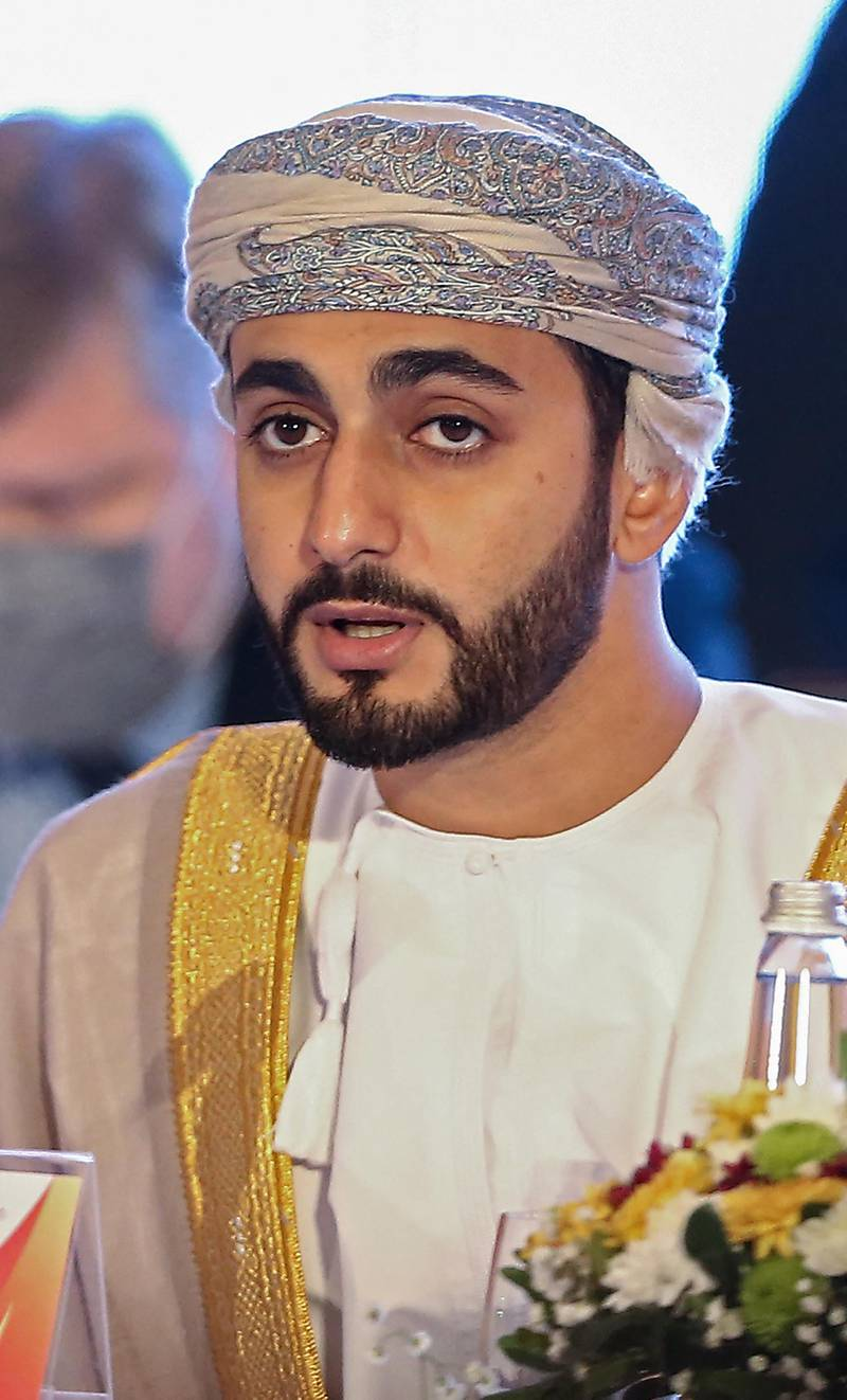 Omani Minister of Culture, Sports and Youth Sayyid Theyazin bin Haitham al-Said attends the 39th Olympic Council of Asia (OCA) General Assembly Meeting in the Omani capital Muscat on December 16, 2020 in which they will select host city for 2030 Asian Games. (Photo by Haitham AL-SHUKAIRI / AFP)