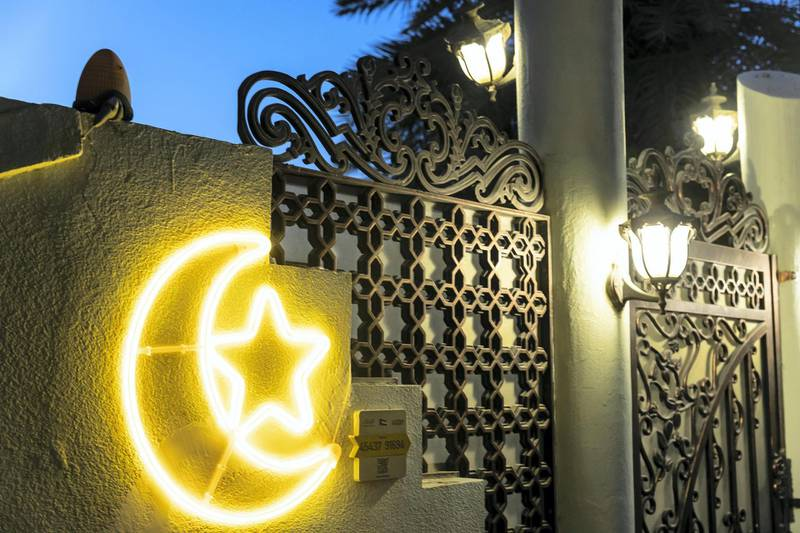 Ramadan Lights-DXBHouse decorated with festive lights to mark the occasion of the Holy Month of Ramadan in the Al Khawaneej District of Dubai on April 21, 2021.Antonie Robertson / The National.Reporter: None for National