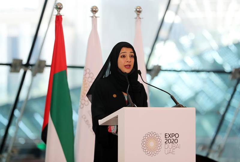 DUBAI, UNITED ARAB EMIRATES , January 16 – 2021 :- Reem Al Hashimy, Director General of Expo 2020 Dubai Bureau and UAE Minister of State for International Cooperation speaking to media during the press conference at the Dubai Expo 2020 Sustainability Pavilion  in Dubai. (Pawan Singh / The National) For News/Online/Instagram/Big Picture. Story by Sarwat