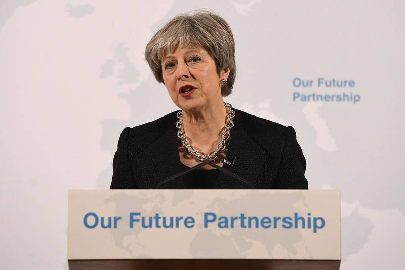 """LONDON, ENGLAND - MARCH 02:  British Prime Minister Theresa May delivers a speech at Mansion House on March 2, 2018 in London, England. Theresa May sets out five tests for the future deal between the UK and the EU.  She believes a broad and deep free trade agreement will be achievable and the EU Referendum was a vote to """"take control of our borders, laws and money"""" ... """"not a vote for a distant relationship with our neighbours"""".  (Photo by Leon Neal/Getty Images)"""