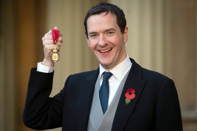LONDON, ENGLAND - NOVEMBER 11:  Former Chancellor George Osborne with the Order of the Companions of Honour which he received from the Duke of Cambridge at Buckingham Palace on November 11, 2016 in London, England. (Photo by Stefan Rousseau - WPA Pool/Getty Images)