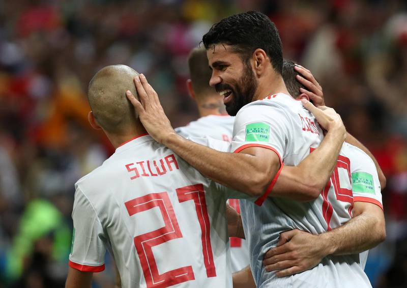 Soccer Football - World Cup - Group B - Iran vs Spain - Kazan Arena, Kazan, Russia - June 20, 2018   Spain's Diego Costa celebrates scoring their first goal with team mates      REUTERS/Sergio Perez