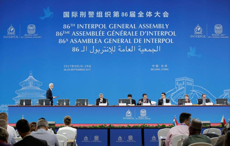 Delegates attend the 86th INTERPOL General Assembly at Beijing National Convention Center in Beijing, China September 27, 2017. REUTERS/Jason Lee