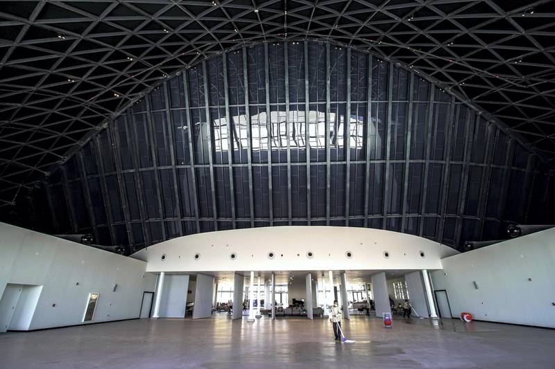 Abu Dhabi, United Arab Emirates, March 3, 2020.  Beklee Abu Dhabi, Manarat Saadiyat.  Interior and exterior images.  The main hall.Victor Besa / The NationalSection:  NAReporter:  Razmig Bedirian