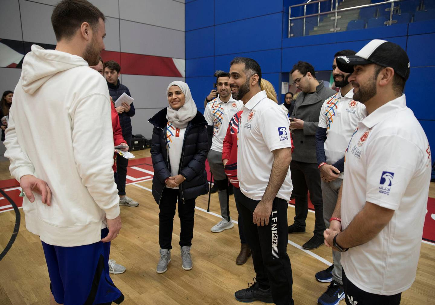 SHEFFIELD,UNITED KINGDOM. 19th January 2019. Rawdha Al Otaiba, Deputy Head of Mission at the UAE Embassy in London and other members of the embassy delegation meet athletes from the Special Olympics-GB Team during a training camp in Sheffield, United Kingdom, ahead of the Special Olympics World Games 2019 in Abu Dhabi. Stephen Lock for the National