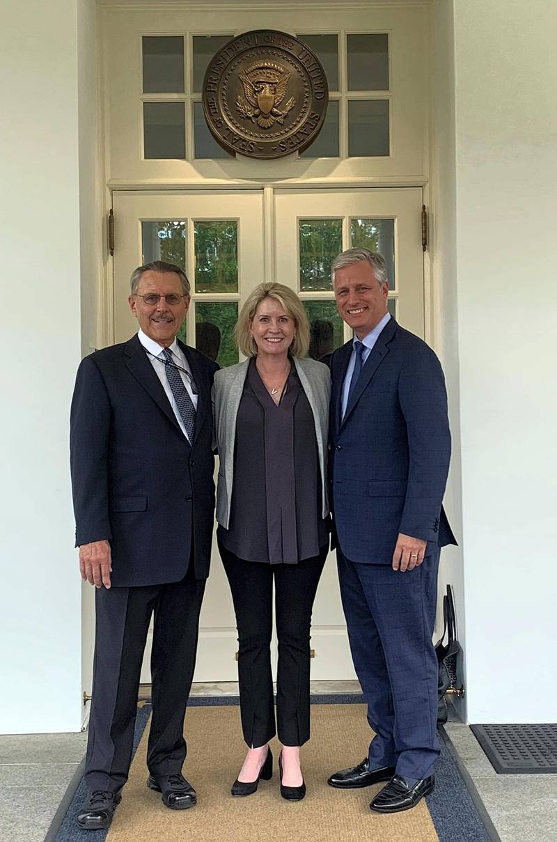 Shortly after he was sworn in at the State Department, Ambassador John Rakolta (left) went yesterday to confer with National security advisor at the White House  Robert O'Brien and Senior Director for the Middle East at National Security Council Victoria Coates.