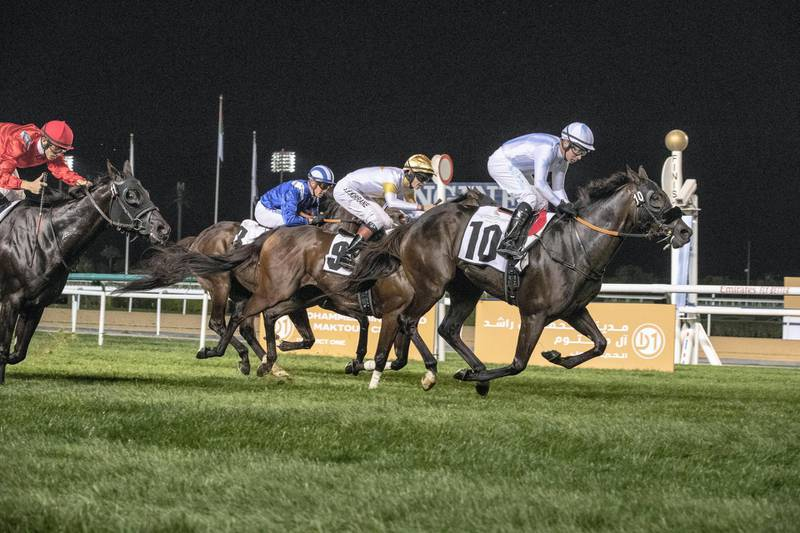 DUBAI, UNITED ARAB EMIRATES. 04 JANUARY 2020. Third Race of the Seventh Race Meeting, District one Legends Trophy.. Winner Nr 10, Way of Wisdom (GB) 5yrs ridden by Tadhg O'Shea. (Photo: Antonie Robertson/The National) Journalist: Amith Passela. Section: Sport.