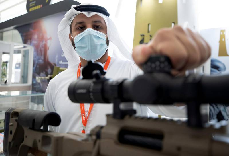 Abu Dhabi, United Arab Emirates, February 24, 2021.  Idex 2021 Day 4.   The UAE made Bynuna Sniper Rifle System with a precision scope.Victor Besa / The NationalSection:  NA