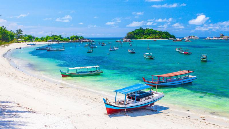 Sailboats by the Belitung beach, Indonesia. Getty Images