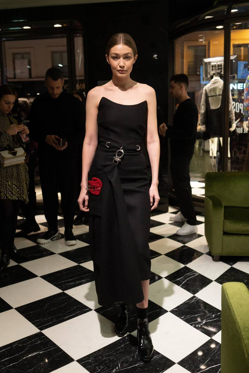 """PARIS, FRANCE - FEBRUARY 27: Gigi Hadid attends """"Double Exposure"""" book signing at Prada Faubourg St Honoré on February 27, 2019 in Paris, France. (Photo by Vittorio Zunino Celotto/Getty Images)"""