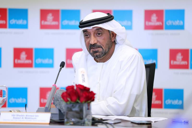 DUBAI , UNITED ARAB EMIRATES , MAY 9 – 2018 :- Sheikh Ahmed Bin Saeed Al Maktoum , Chairman and Chief Executive , Emirates Airline and Group during the media roundtable held at Emirates HQ in Dubai.  ( Pawan Singh / The National )  For Business Story by Sarah
