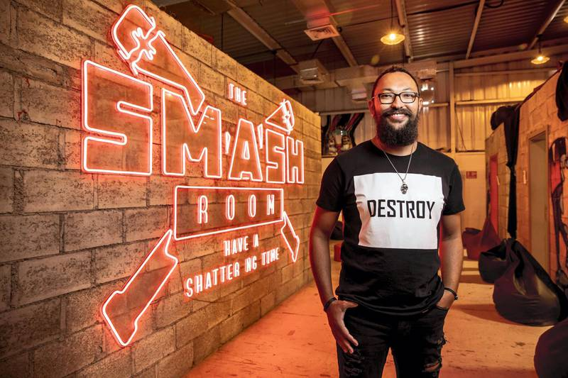 DUBAI, UNITED ARAB EMIRATES. 06 MAY 2019. Ibrahim Abudyak, Co-Founder of The Smash Room in Al Quoz. (Photo: Antonie Robertson/The National) Journalist: Nada El Sawy. Section: National.