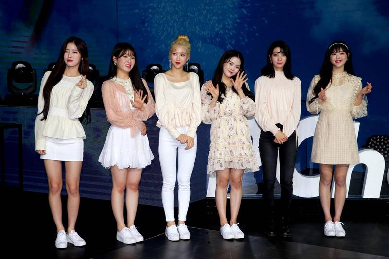 TAIPEI, CHINA - NOVEMBER 09: Members of South Korean girl group Oh My Girl attend a rehearsal before their concert on November 9, 2019 in Taipei, Taiwan of China. (Photo by Unioncom/VCG via Getty Images)