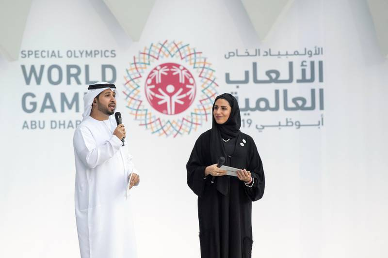 ABU DHABI, UNITED ARAB EMIRATES - March 14, 2019: Faisal Bin Huraiz (L) and Mariam Al Amiri (R) present during the opening ceremony of the Special Olympics World Games Abu Dhabi 2019, at Zayed Sports City.  ( Ryan Carter for the Ministry of Presidential Affairs ) ---