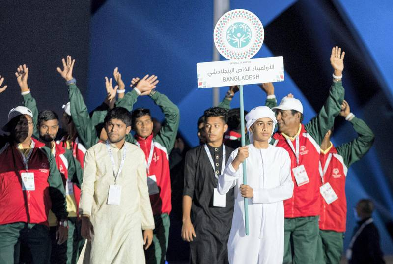 ABU DHABI, UNITED ARAB EMIRATES - March 17, 2018: Athletes participate in a parade during the opening ceremony of the Special Olympics IX MENA Games Abu Dhabi 2018, at the Abu Dhabi National Exhibition Centre (ADNEC).( Ryan Carter for the Crown Prince Court - Abu Dhabi )