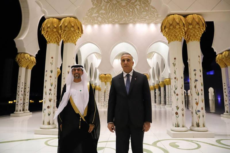 Mustafa Al Kadhimi, Prime Minister of Iraq visits Sheikh Zayed Grand Mosque, accompanied by Suhail bin Mohammed Al Mazrouei, Cabinet Member and Minister of Energy and Infrastructure. WAM