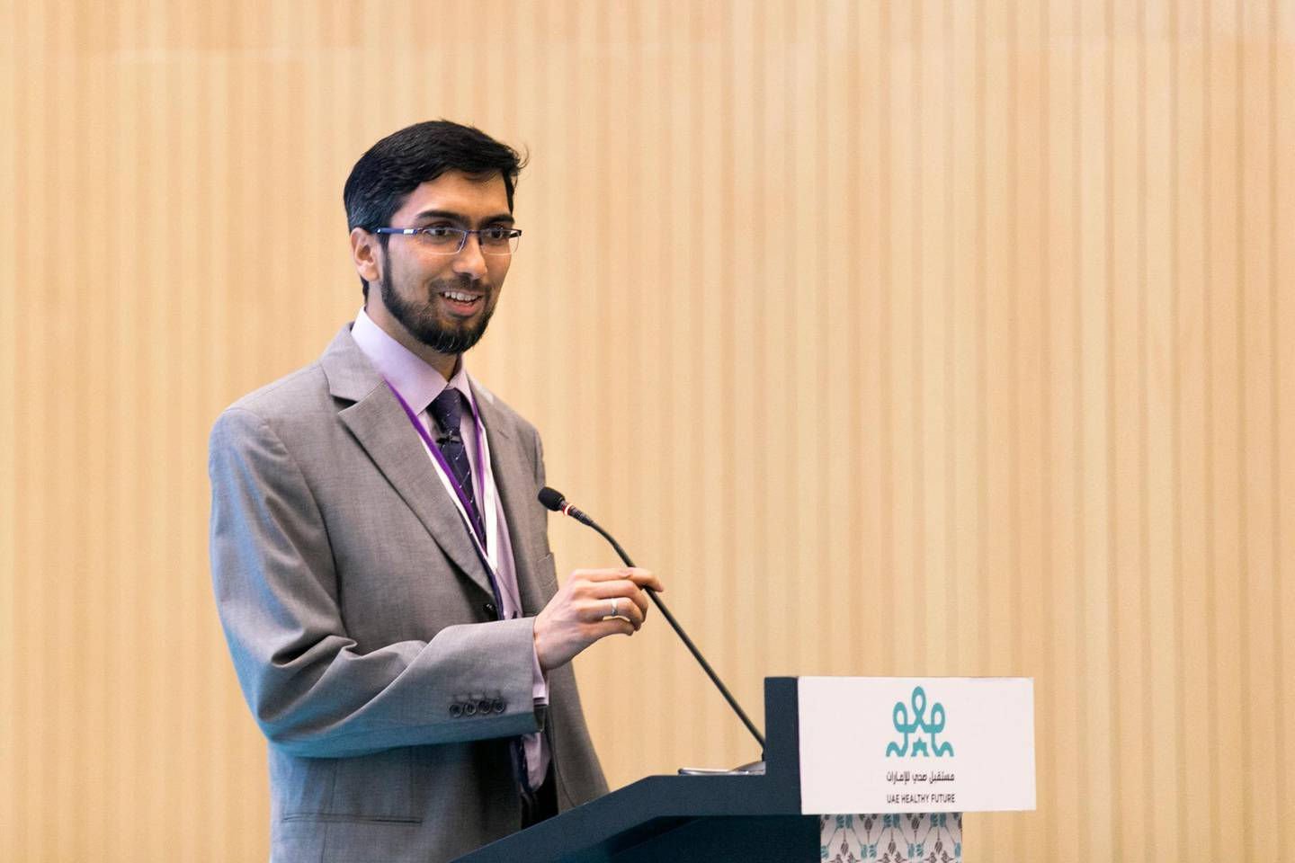 ABU DHABI, UNITED ARAB EMIRATES, 19 FEB 2017.  Dr Raghib Ali, Director of Public Health Research Center, NYU AD, at the UAE Healthy Future Study launch event.  Cardiovascular disease and diabetes are extremely common in the UAE and throughout the Arab World. While cohort studies have made tremendous contributions to scientific knowledge of the epidemiology and determinants of diabetes, cardiovascular disease and cancer, none have been done in Arab populations. To study the causes of these diseases and other diseases common to Emirates, NYU's Public Health Research Center has established a prospective cohort study, the UAE Healthy Future Study.  The UAE Healthy Future Study has been established in 2015 as the first national study in the United Arab Emirates aimed at understanding the risk factors of heart disease, obesity and diabetes with a representative sample of 20,000 UAE national men and women making up its study participants.  The study is conducted in collaboration with a number of leading hospitals and universities. NYU Abu Dhabi (NYUAD) and the NYU School of Medicine are collaborating with SEHA Ð The Abu Dhabi Health Services company (including Sheikh Khalifa Medical City and the Abu Dhabi Blood Bank), Zayed Military Hospital, United Arab Emirates University, Zayed University, Khalifa University, EBTIC, Al Ain Regional Blood Bank and Cleveland Clinic Abu Dhabi.  Photo: Reem Mohammed / The National (Reporter: Shireena Al Nuwais / Section: NA) ID 43825 *** Local Caption ***  RM_20170219_NA_HEALTH_002.JPG
