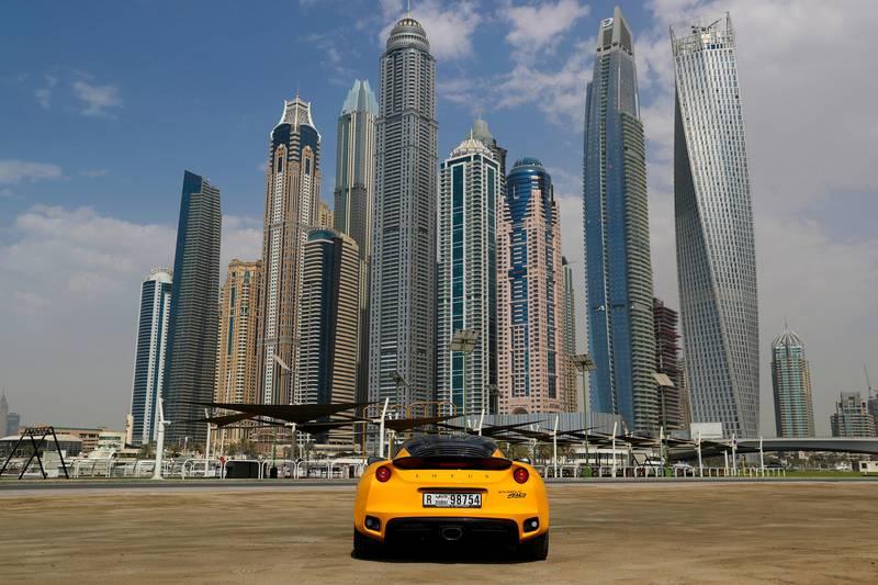 Dubai, United Arab Emirates, August 06, 2017: Lotus Evora 410 Sport road test for motoring on Sunday, Aug. 06, 2017, The Marina, Dubai. Chris Whiteoak The National