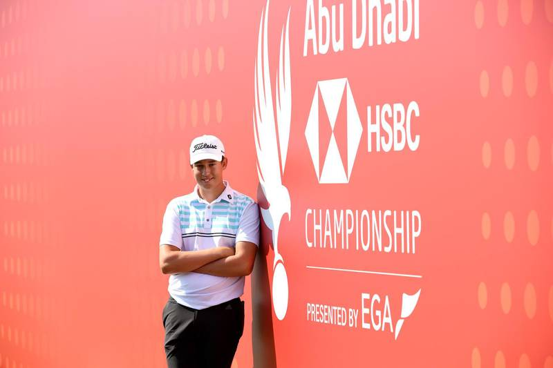 ABU DHABI, UNITED ARAB EMIRATES - JANUARY 14: Josh Hill of England poses for a photo on the eighteenth during a practice round ahead of the Abu Dhabi HSBC Championship at Abu Dhabi Golf Club on January 14, 2020 in Abu Dhabi, United Arab Emirates. (Photo by Ross Kinnaird/Getty Images)