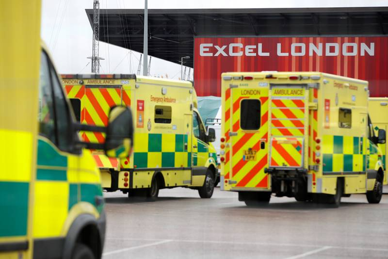 Ambulances are seen outside the NHS Nightingale Hospital at the Excel Centre, as the spread of the coronavirus disease (COVID-19) continues, London, Britain, April 6, 2020. REUTERS/Matthew Childs