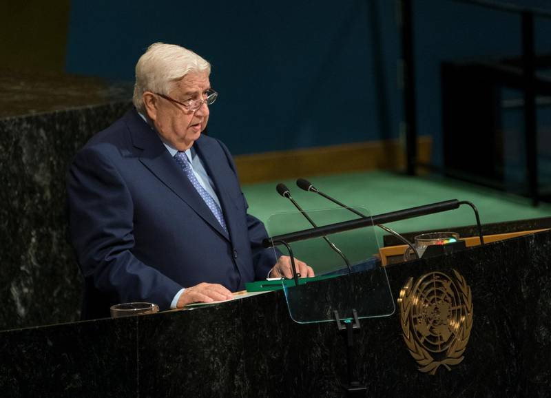Syrian Deputy Prime Minister and Minister for Foreign Affairs Walid al-Moallem addresses the United Nations General Assembly, Saturday, Sept. 23, 2017, at U.N. headquarters. (AP Photo/Craig Ruttle)
