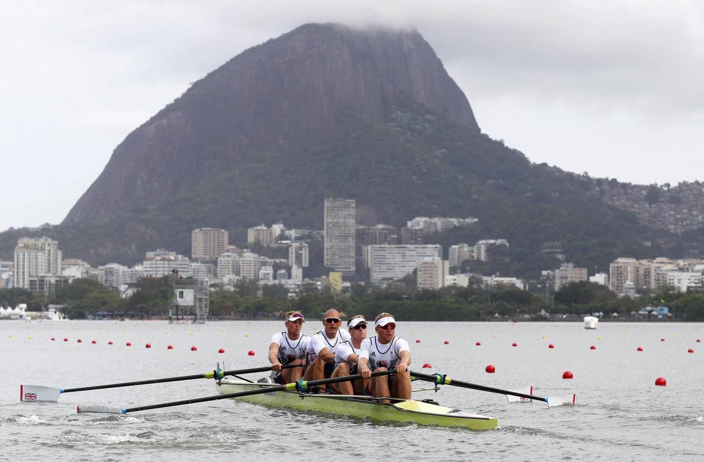 RIO DE JANEIRO, BRAZIL - AUGUST 08:  Alex Gregory, Mohamed Sbihi, George Nash and Constantine Louloudis of Great Britain during the Men's four heat 3 on Day 3 of the Rio 2016 Olympic Games at the Lagoa Stadium on August 8, 2016 in Rio de Janeiro, Brazil.  (Photo by Paul Gilham/Getty Images)
