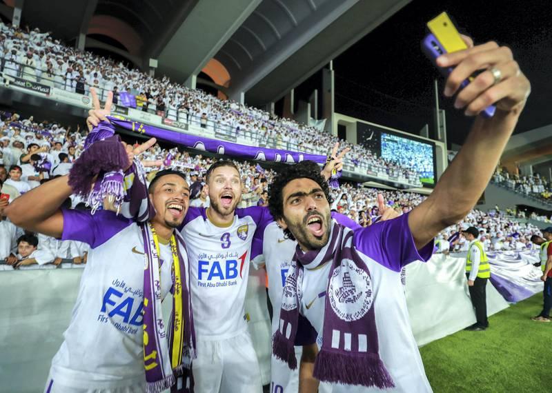 Abu Dhabi, UAE.  May 3, 2018.   President's Cup Final, Al Ain FC VS. Al Wasl.  (L-R) Ahmed Barman celebrates with Matkus Berg.Victor Besa / The NationalSportsReporter: John McAuley