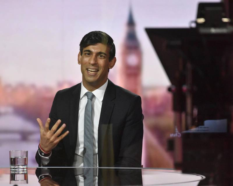 Britain's Chancellor of the Exchequer Rishi Sunak speaks during BBC TV's The Andrew Marr Show in London, Britain November 22, 2020. Picture taken through glass. Jeff Overs/BBC/Handout via REUTERS  THIS IMAGE HAS BEEN SUPPLIED BY A THIRD PARTY. NO RESALES. NO ARCHIVES. NO NEW USES 21 DAYS AFTER ISSUE