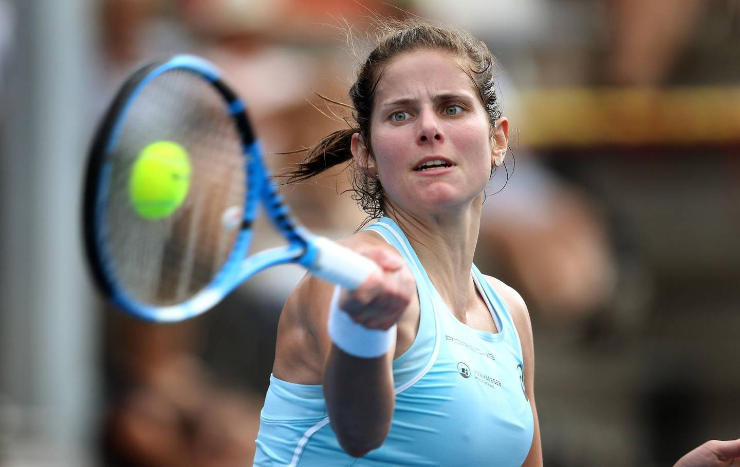 Julia Goerges of Germany hits a return during her women's semi-final match against Su-Wei Hsieh of Taiwan at the WTA Auckland Classic tennis tournament in Auckland on January 6, 2018. / AFP PHOTO / MICHAEL BRADLEY