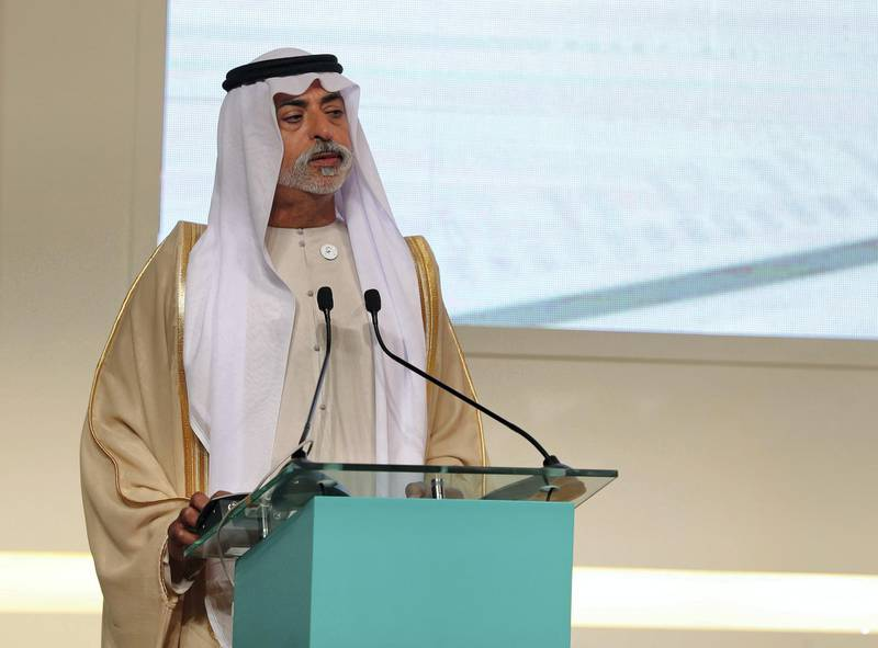 Abu Dhabi, United Arab Emirates - February 03, 2019: Sheikh Nahyan bin Mubarak Al Nahyan, Minister of Tolerance speaks at the first session at the Global Conference of Human Fraternity. Sunday the 3rd of February 2019 at Emirates Palace, Abu Dhabi. Chris Whiteoak / The National