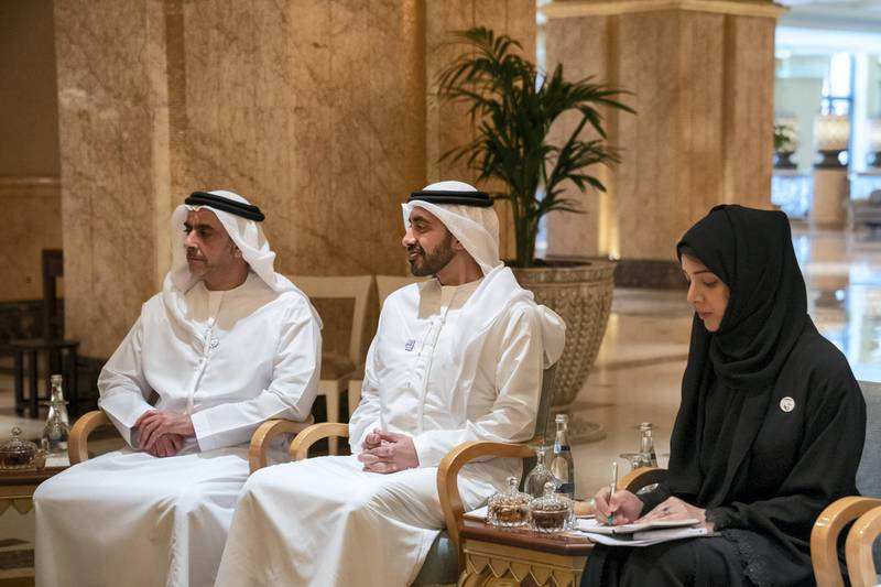 ABU DHABI, UNITED ARAB EMIRATES - June 30, 2019: (R-L) HE Reem Ibrahim Al Hashimi, UAE Minister of State for International Cooperation, HH Sheikh Abdullah bin Zayed Al Nahyan, UAE Minister of Foreign Affairs and International Cooperation and HH Lt General Sheikh Saif bin Zayed Al Nahyan, UAE Deputy Prime Minister and Minister of Interior, attend a meeting with HE Antonio Guterres, Secretary-General of the United Nations (not shown), at Emirates Palace.  ( Hamad Al Kaabi / Ministry of Presidential Affairs ) ---
