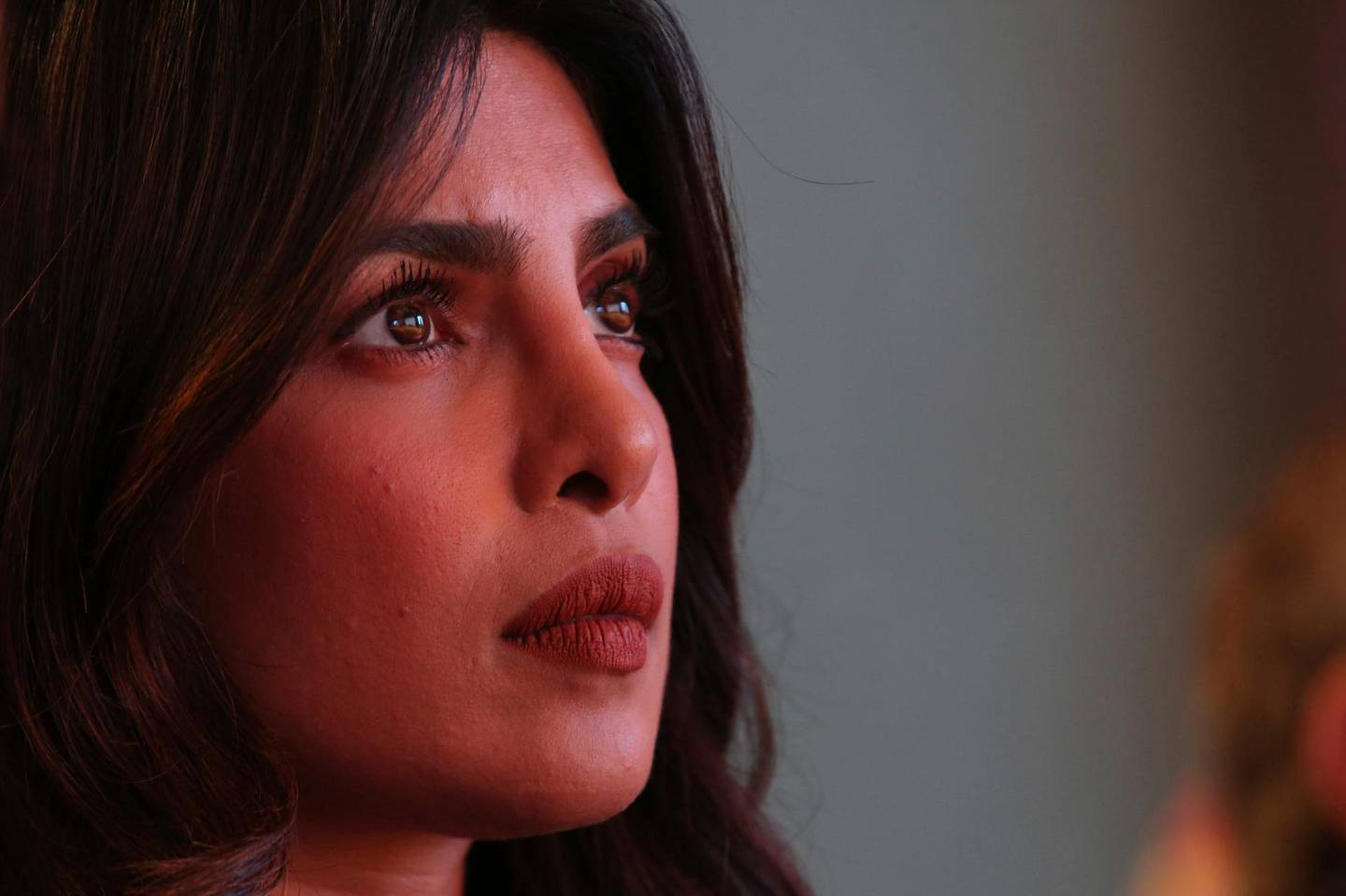 Actress Priyanka Chopra listens during a presentation on the Parkland High School shooting during the Global Education and Skills Forum in Dubai, United Arab Emirates, Saturday, March 17, 2018. Student survivors of a Florida high school shooting took their message calling for greater gun safety measures abroad for the first time on Saturday, sharing with educational professionals from around the world their frightening experience. (AP Photo/Jon Gambrell)