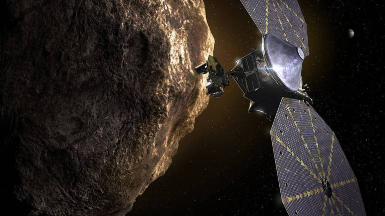 An image that illustrates this article Nasa spacecraft called Lucy to visit eight asteroids in 12-year journey