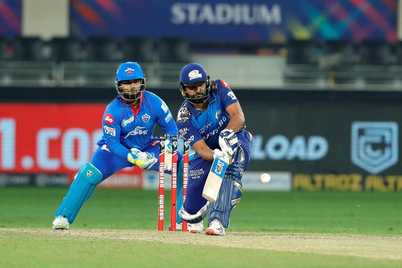 Rohit Sharma captain of Mumbai Indians hit a boundary during the final of season 13 of the Dream 11 Indian Premier League (IPL) between the Mumbai Indians and the Delhi Capitals held at the Dubai International Cricket Stadium, Dubai in the United Arab Emirates on the 10th November 2020.  Photo by: Saikat Das  / Sportzpics for BCCI