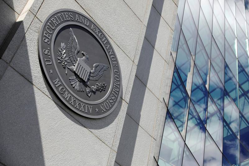 The seal of the U.S. Securities and Exchange Commission (SEC) is seen at their  headquarters in Washington, D.C., U.S., May 12, 2021. Picture taken May 12, 2021. REUTERS/Andrew Kelly