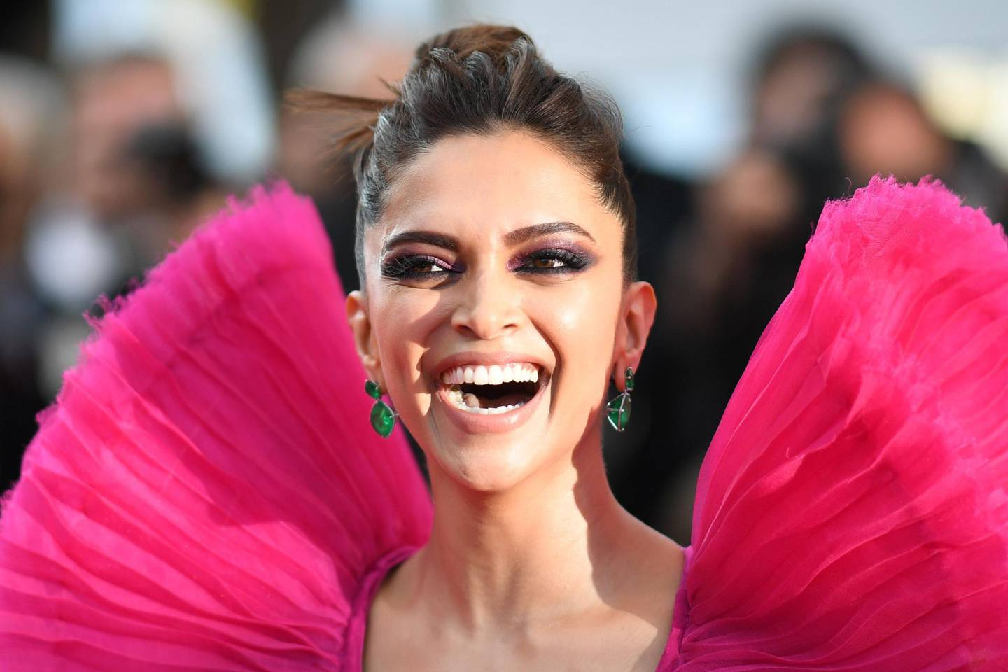 """Indian actress Deepika Padukone poses as she arrives on May 11, 2018 for the screening of the film """"Ash is Purest White (Jiang hu er nv)"""" at the 71st edition of the Cannes Film Festival in Cannes, southern France.  / AFP / LOIC VENANCE"""