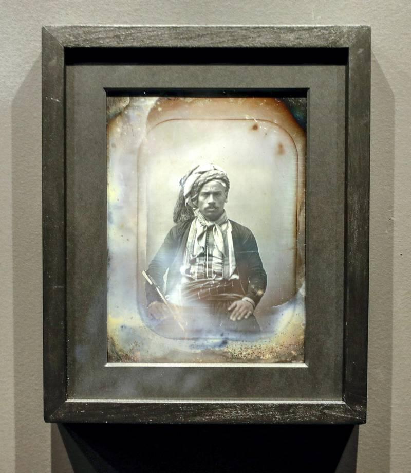 Abu Dhabi, April 23, 2019.    Photographs 1842-1896:  An early album of the world at Louvre Abu Dhabi.  --  Henri Jacquart (1809-1874)Mamoud-ben-Mohamed,aged 22, born in AlgiersParis, France, September 1851DaguerreotypeParis, musée du quai Branly-Jacques ChiracVictor Besa/The National Section:  Arts & LifeReporter:  Melissa Gronlund