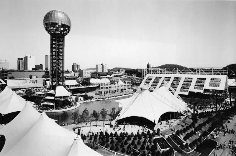 General view of the World's Fair in Knoxville, Tennessee, May 10, 1982. Visible structures include the Sunsphere (the tower at top left) and the American Pavillion (far right). (Photo by Mike DuBose/Hulton Archive/Getty Images)