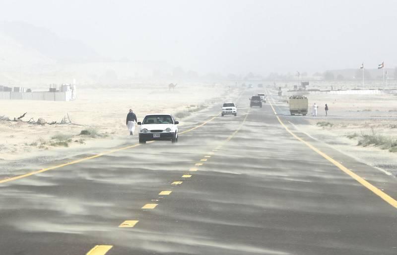 DUBAI, UNITED ARAB EMIRATES , Jan 26  – 2020 :- Sandstorm at the Umm Nahad 3 area in Dubai. ( Pawan  Singh / The National ) For News.
