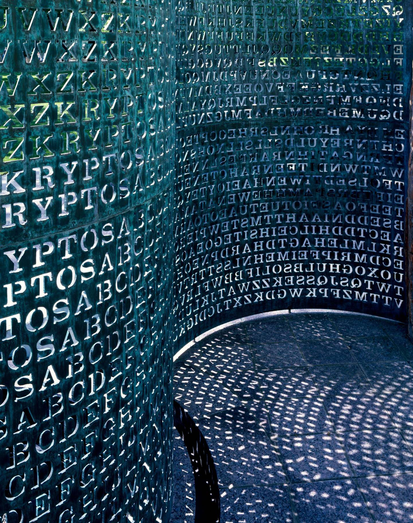 W7GFKF Art made of code named Kryptos sits on the grounds of the C.I.A. Headquarters in Virginia