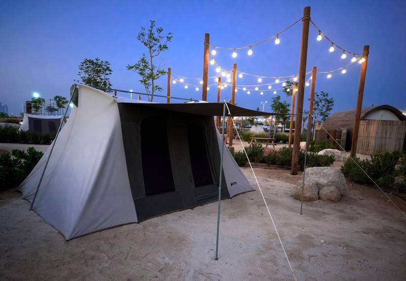 Abu Dhabi, United Arab Emirates, November 8, 2020.   The new Hudayriyat Leisure and Entertainment District at Hudayriyat Island.  Tents for rent at the Bab Al Nojoum area.Victor Besa/The NationalSection:  NAReporter:  Haneen Dajani