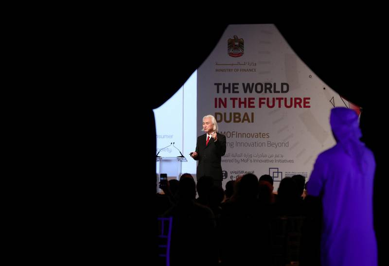 Dubai, United Arab Emirates - February 26, 2019:  Michio Kaku speaks about the world in the future and the role of humanity in the next 30 years at the World in the Future event. Tuesday the 26th of February 2019 at World trade centre, Dubai. Chris Whiteoak / The National